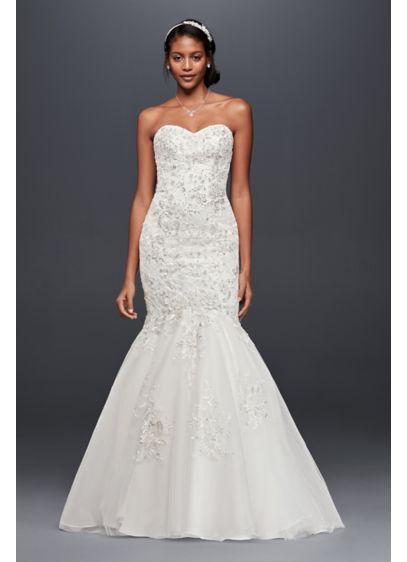 Petite Metallic-Beaded Lace Wedding Dress | David\'s Bridal