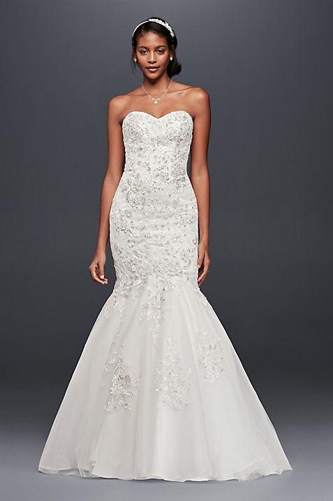 metallic beaded lace trumpet wedding dress david s bridal