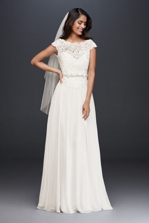 As-Is Illusion Lace Chiffon A-Line Wedding Dress