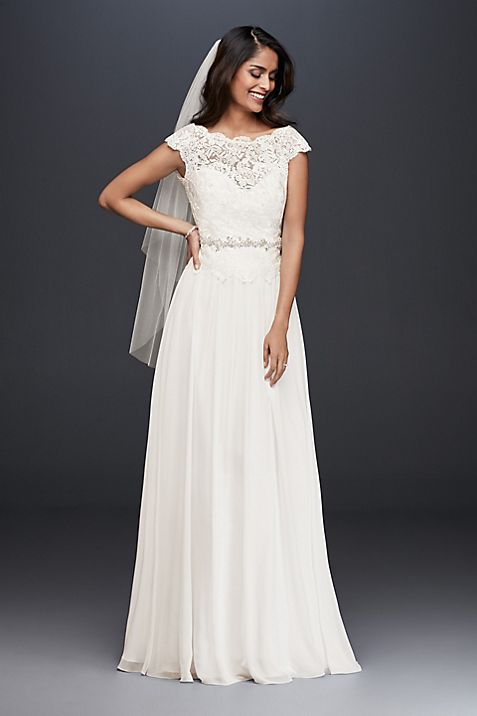 Illusion Lace and Chiffon Petite Wedding Dress | David\'s Bridal