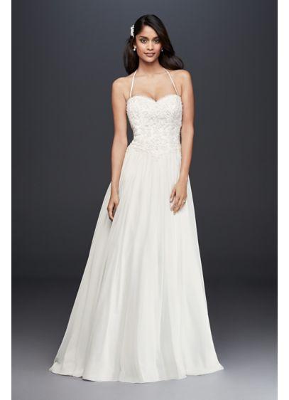 Basque-Waist Lace and Chiffon Wedding Dress | David\'s Bridal