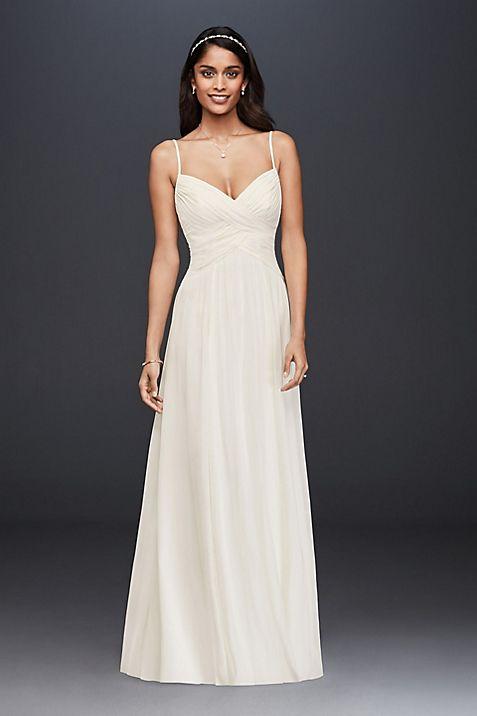 ruched bodice chiffon a line wedding dress david s bridal