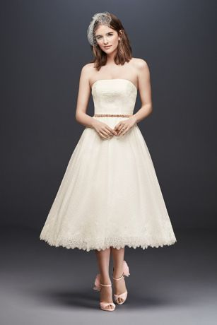 Dotted Tulle Tea-Length Wedding Dress with Lace   David's ...