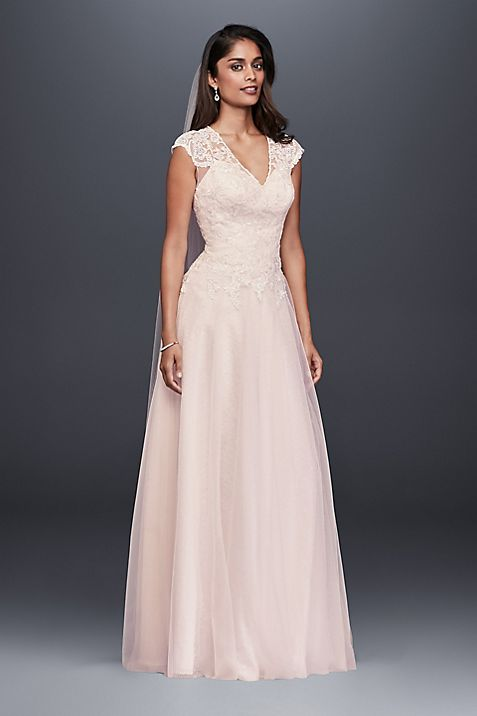 Tulle-Over-Lace V-Neck Ball Gown Wedding Dress | David\'s Bridal