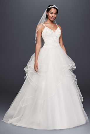 Embroidered Lace and Tiered Tulle Wedding Dress Davids Bridal