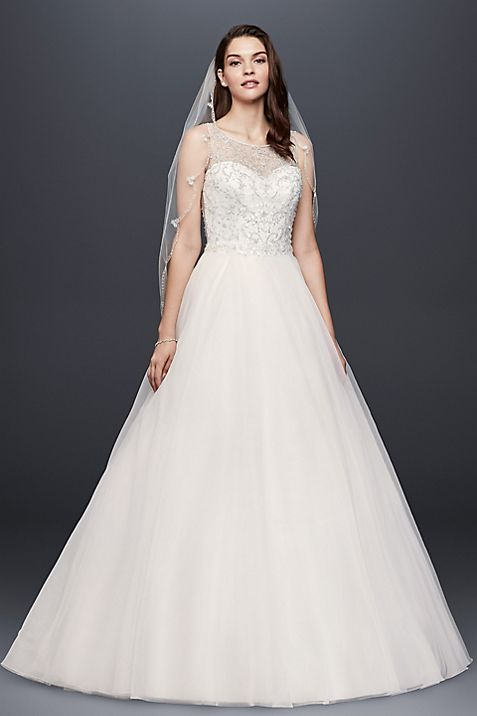Beaded Organza Ball Gown Wedding Dress | David\'s Bridal