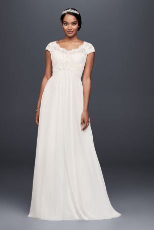 93b63476982c7 Long Sheath Wedding Dress - David s Bridal Collection · David s Bridal  Collection. Cap Sleeve Lace and Chiffon ...