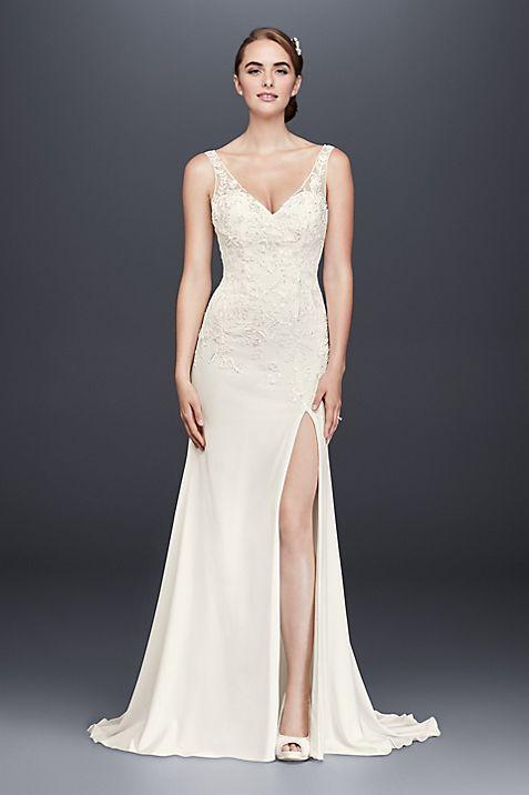 appliqued stretch crepe petite wedding dress david s bridal
