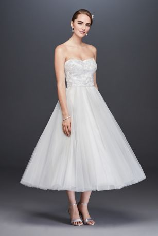 Lace Appliqued Tulle Tea-Length Wedding Dress
