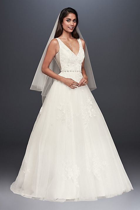 Mikado and Tulle V-Neck Ball Gown Wedding Dress | David\'s Bridal