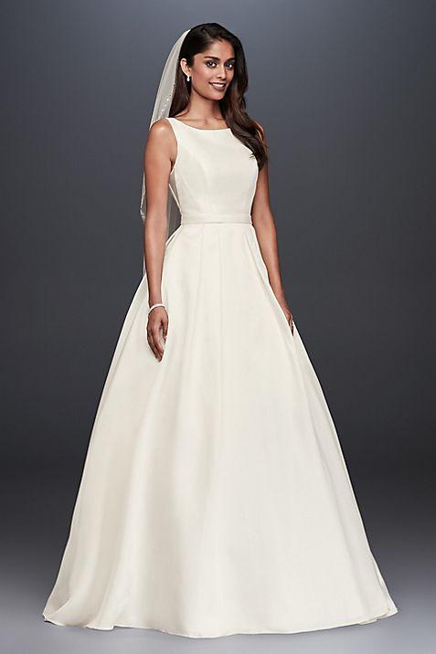 High-Neck Mikado Ball Gown Wedding Dress | David\'s Bridal