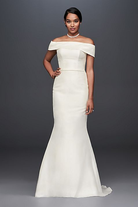 Off-the-Shoulder Mikado Trumpet Wedding Dress | David\'s Bridal