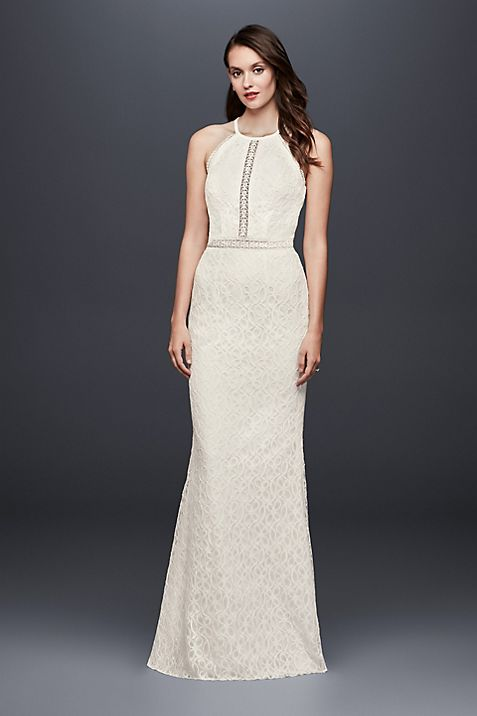 Floral Lace Racerback Sheath Wedding Dress | David\'s Bridal
