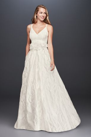 Floral Jacquard A-Line Wedding Dress