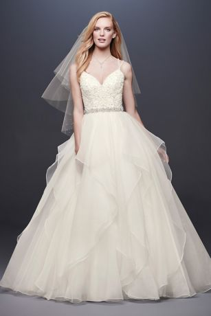 Long Ballgown Spaghetti Strap Dress - David's Bridal Collection