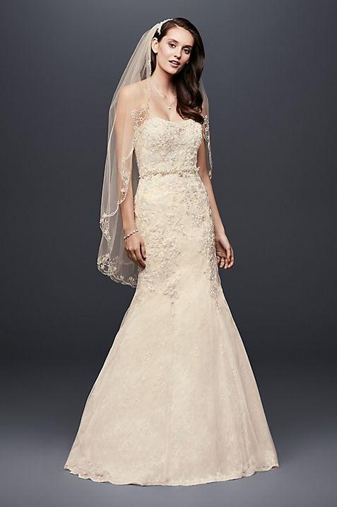 Corset Back Beaded Lace Mermaid Wedding Dress | David\'s Bridal