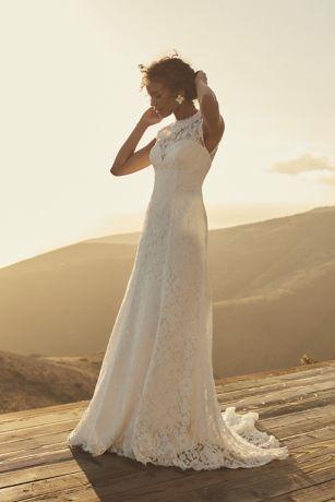 Allover Lace Cap Sleeve Sheath Wedding Dress   David's Bridal