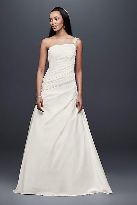 Draped Satin One-Shoulder A-Line Wedding Dress   David\'s Bridal