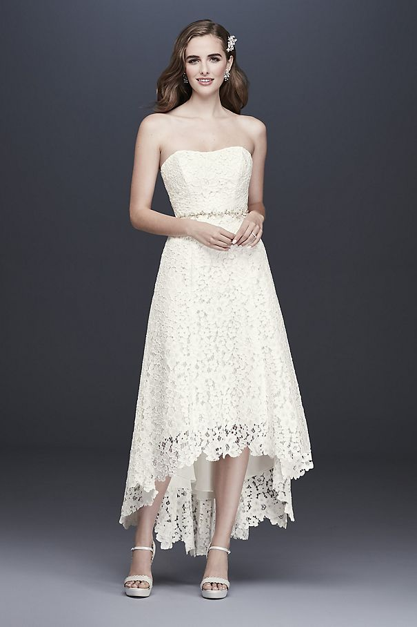 High-Low Tea-Length Corded Lace Wedding Dress WG3925