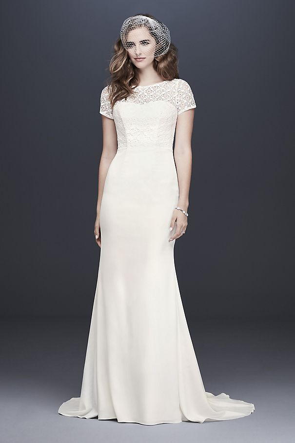 Geometric Lace and Crepe Cap Sleeve Wedding Dress WG3927