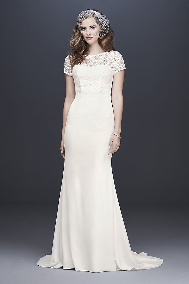 Geometric Lace and Crepe Cap Sleeve Wedding Dress