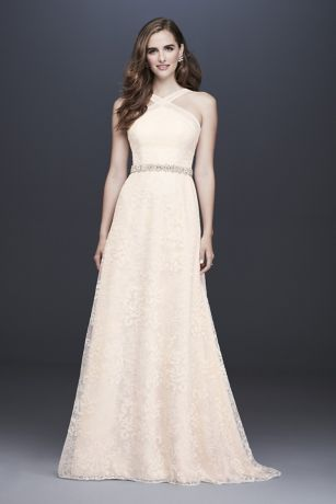 Allover Embroidered Lace Y-Neck Wedding Dress