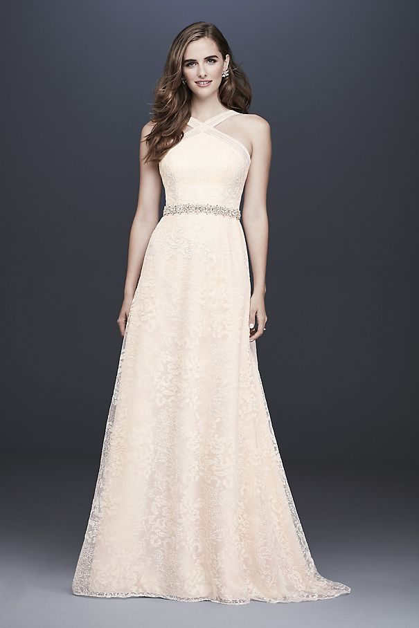 Allover Embroidered Lace Y-Neck Wedding Dress WG3928