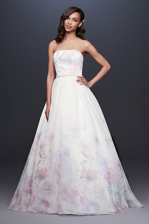 Floral Watercolor Organza Ball Gown Wedding Dress WG3934