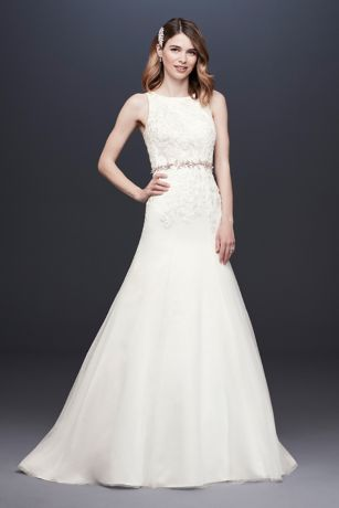 Lace Tank Mermaid Wedding Dress with Keyhole Back
