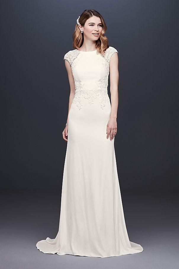Cap Sleeve Crepe Sheath Wedding Dress WG3939