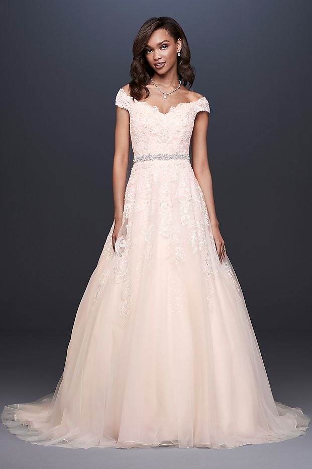 Off-the-Shoulder Applique Ball Gown Wedding Dress