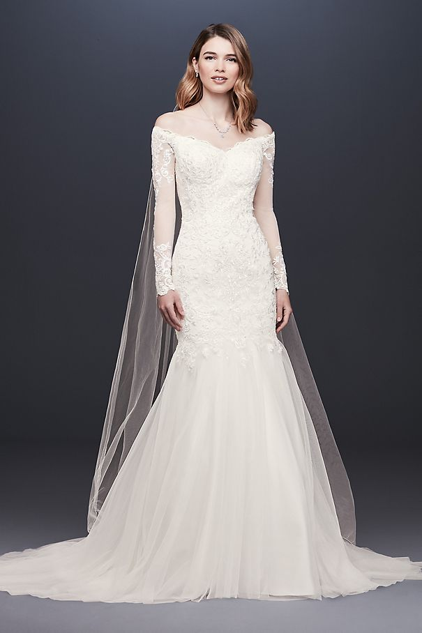 Long Sleeve Off-the-Shoulder Trumpet Wedding Dress WG3943