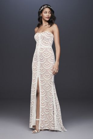 Scalloped Lace Split-Front Sheath Wedding Dress