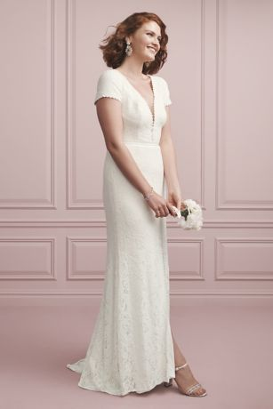 As Is Deep V-Neck Cap Sleeve Lace Wedding