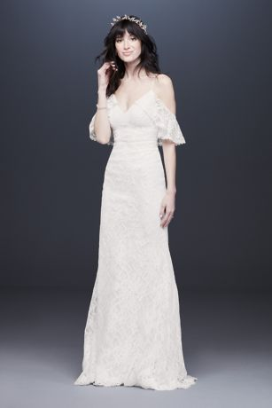 Cold Shoulder Wedding Dress with Ruffled Sleeves
