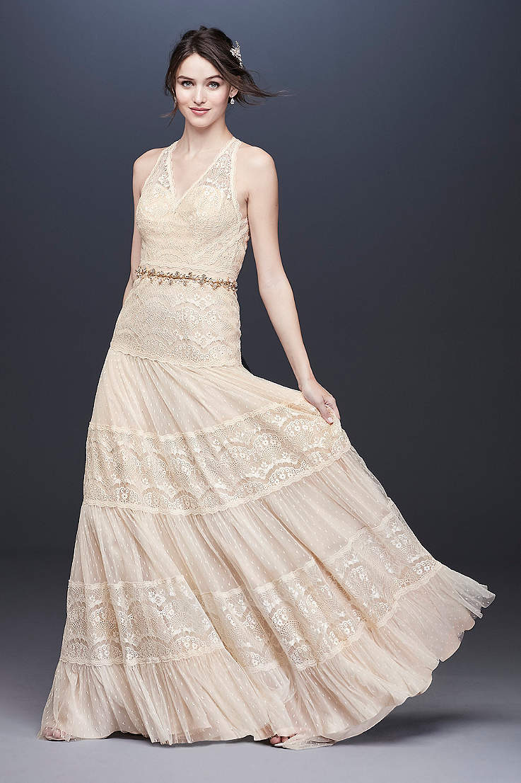 Champagne Colored Wedding Dresses Gowns David S Bridal,Can You Add A Train To A Wedding Dress