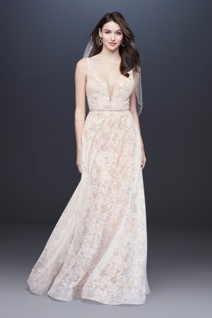 Strappy Deep V-Neck Lace Sheath Wedding Dress