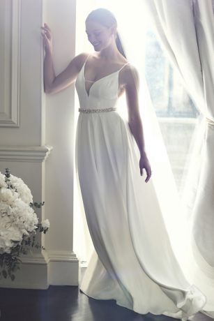 As Is Illusion DeepV Spaghetti Strap Wedding Dress