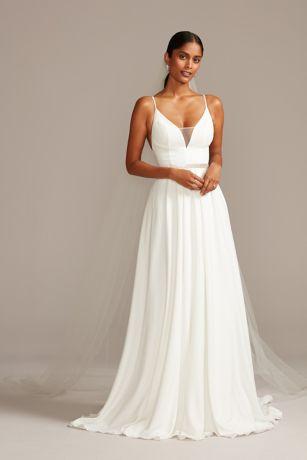 Illusion Deep-V Spaghetti Strap Wedding Dress