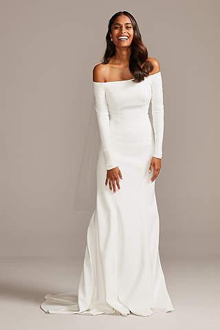 White Long Sleeve Dresses Long Maxi White Dresses David S Bridal,Tank Top Wedding Dress