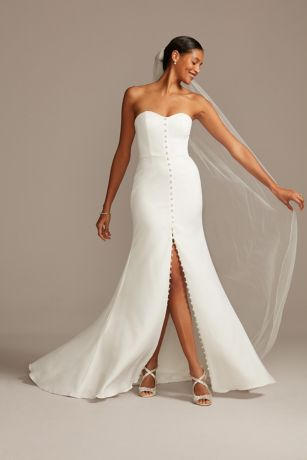 Button Front Strapless Stretch Crepe Wedding Dress
