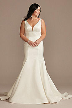 Plunge Mermaid Satin Wedding Dress with Buttons WG4016