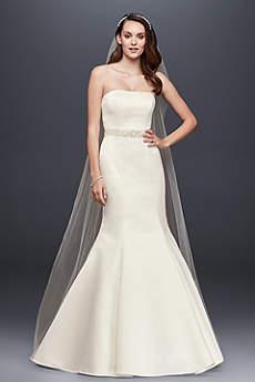 Strapless Trumpet Wedding Dress with Ribbon Waist