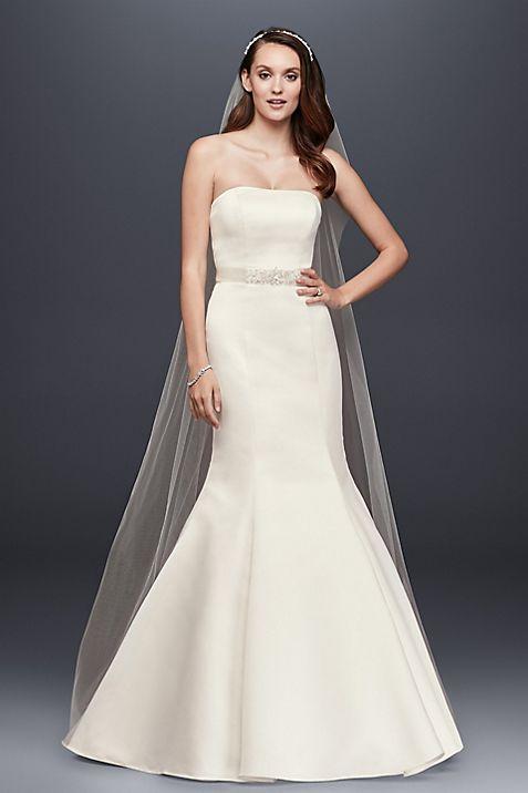 strapless trumpet wedding dress with ribbon waist david s bridal