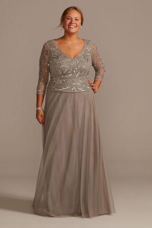 Long A-Line 3/4 Sleeves Dress - David's Bridal