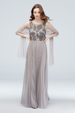 Beaded Bodice Accordion Pleated Gown with Shawl