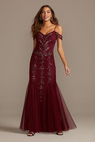 Sequin Embellished Cold Shoulder Dress with Godets