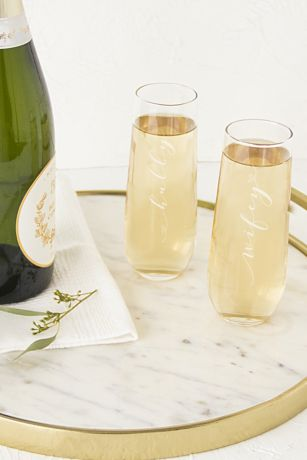 Hubby and Wifey Stemless Champagne Flutes