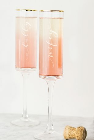Hubby and Wifey Gold Rim Champagne Flutes