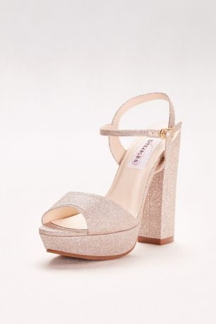 Dyeables Grey;Ivory (Glitter Chunky-Heel Platform Peep-Toes)